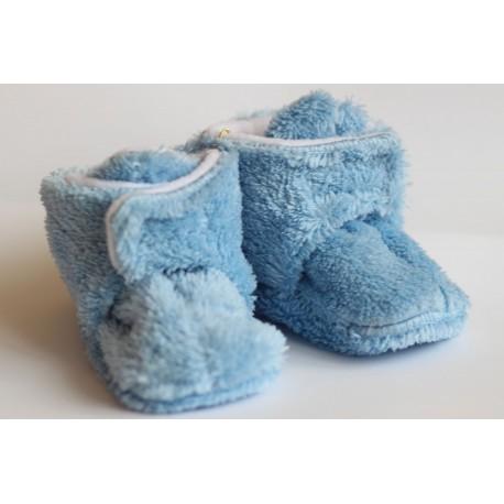 Chlpaté flísové papučky - capačky modré 0-6m