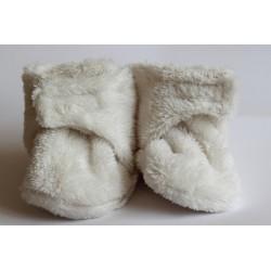 Chlpaté flísové papučky - capačky smotanové
