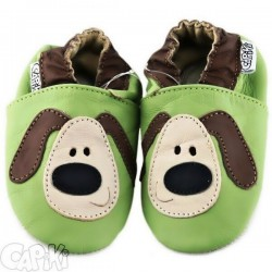 Kožené capačky Capiki - zelené psíky