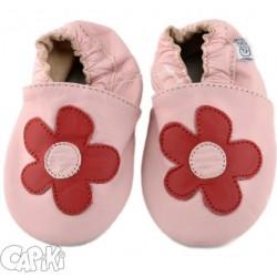 Kožené capačky Capiki - ružové s kvetinkou