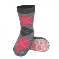 Ponožky s koženou podrážkou - sivo ružové štvorce 23/24