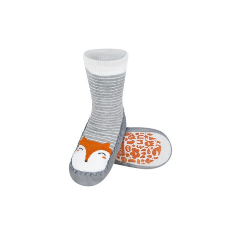 Ponožky s koženou podrážkou - sivé s líškou 31/32