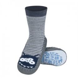 Ponožky s koženou podrážkou - sivé s príšerkou 31/32