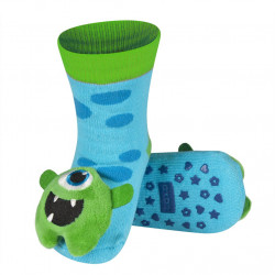 Detské protišmykové ponožky s hrkálkou - modré - príšerka