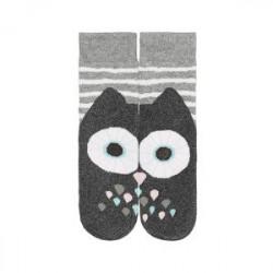 Teplé ponožky - sova-  sivo-ružové