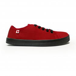 Plátené barefoot tenisky Anatomic ALL IN - červená/čierna