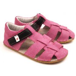 EF barefoot sandálky - tmavoružové s čiernou