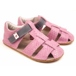 EF barefoot sandálky -ružové so šedou