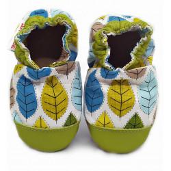 EcoTuptusie Cotton - textilné capačky s koženou podošvou - zelené listy