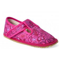 Beda - barefoot papučky W - ružové srdcia