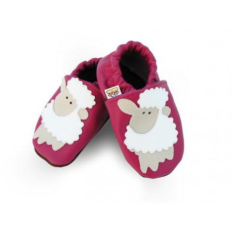 Kožené capačky Afelo - ružové ovečky