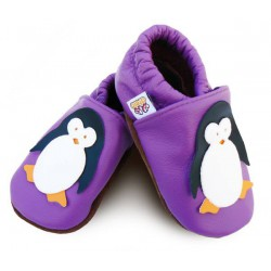 Kožené capačky Afelo - tučniak - fialové