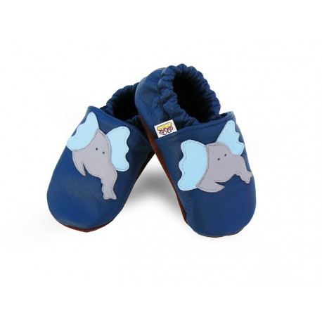 Kožené capačky Afelo - modré - slon
