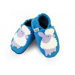 Kožené capačky Afelo - modré ovečky