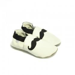 Kožené capačky Tomar Moustache - biele