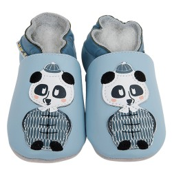 Kožené capačky Lait et Miel - panda