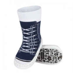 Ponožky s koženou podrážkou - tmavomodré tenisky 19-21