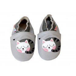 Footstep - kožené capačky mačička - sivé
