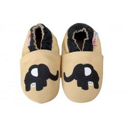 Footstep - kožené capačky sloník - krémové