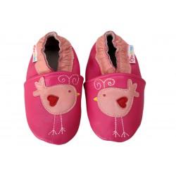 Footstep - kožené capačky vtáčiky - tmavoružové