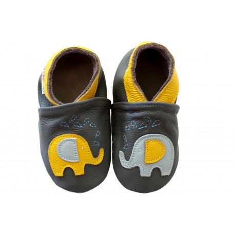 Footstep - kožené capačky sloníky - sivé