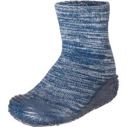 Štrikované papučko-ponožky s gumenou podošvou - tmavomodré