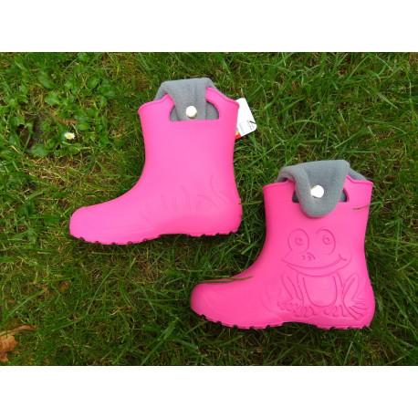 Camminare - detské zateplené gumáky žabka - ružové